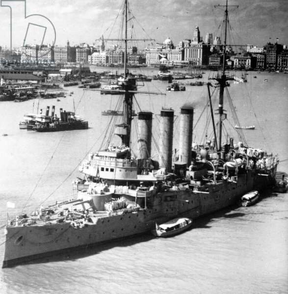 China: The Japanese armoured cruiser Izumo anchored in Shanghai, on the eve of the Battle of Shanghai (1937).
