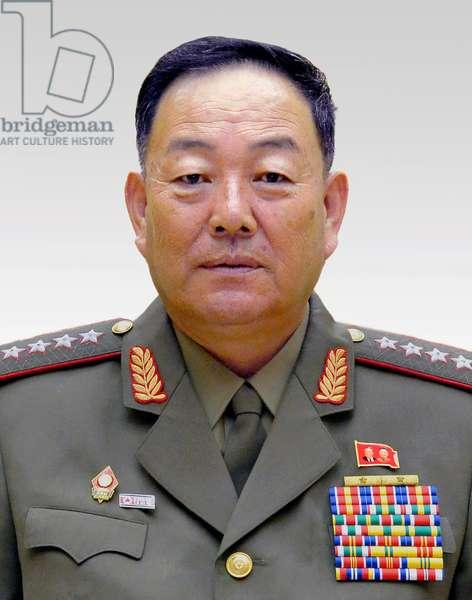 Korea: Official portrait of General Hyon Yong-chol (1949-2015), Defence Minister of North Korea (DPRK), 2014-2015