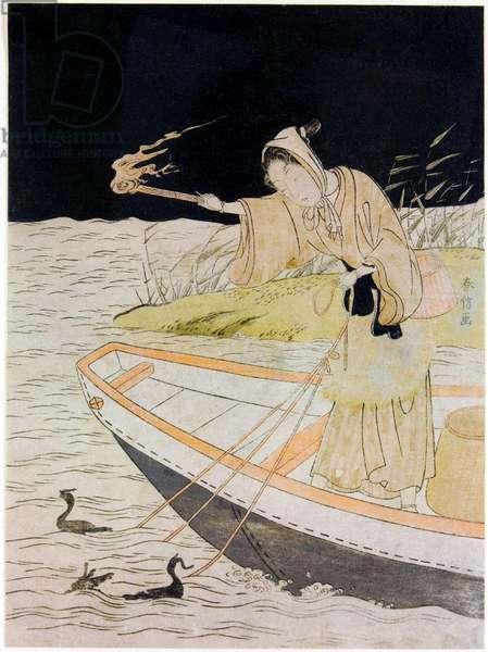Japan: 'Cormorant Fishing by Night'. Suzuki Harunobu (fl. c. 1724-1770), no date but mid-18th century