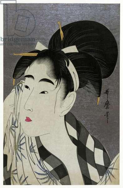 Japan: 'Woman Drying Face', ukiyo-e woodblock print by Kitagawa Utamaro in the Bijin style (1798).