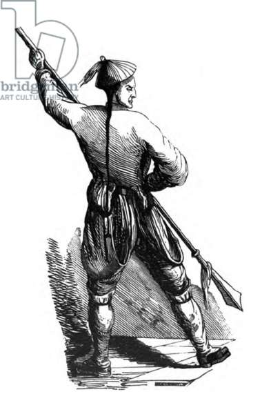 China: A Chinese spearman, First Opium War, 1839-1842