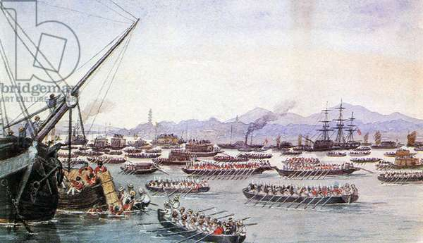 China: British ships preparing to attack Canton (Guangzhou), First Opium War, 24  May 1841. Edward Hodges Cree