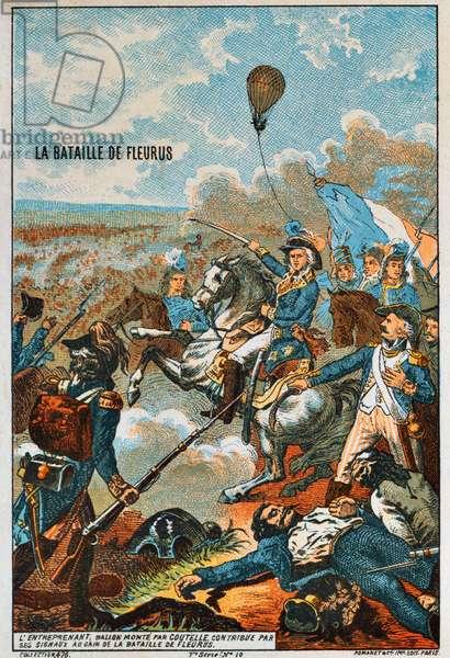 France: Early Flight- 'L'Entreprenant, ballon monte par Coutelle, bataille de Fleurus, 1794' (The balloon, 'The Enterprising', flown by Coutelle, at the battle of Fleurus, 1794), Paris, Romanet, c. 1895