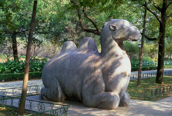 China: Camel statue near the Ming Xiaoling (Tomb of Emperor Hong Wu, r. 1368-1398), Zijin Shan, Nanjing, Jiangsu Province