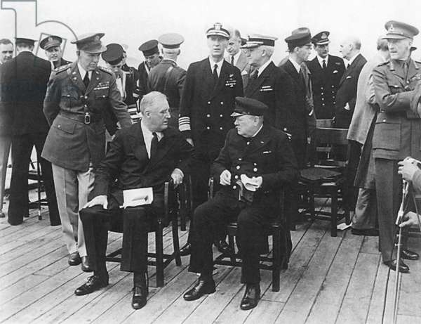 USA / UK: President Franklin Delano Roosevelt and Prime Minister Winston Churchill aboard HMS Prince of Wales for the Atlantic Charter meeting, Placentia Bay, August 14, 1941