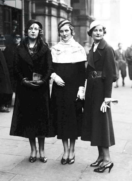 England / UK: Three of the Mitford Sisters- Unity, Diana & Nancy Mitford in the thirties