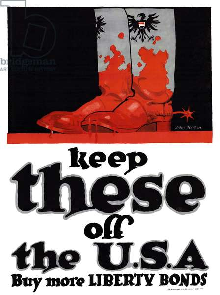USA: 'Keep These [German jackboots] OFF the USA'. First World War propaganda poster, Cincinnati and New York, c. 1917