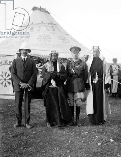 Jordan: The Emir Abdullah I with Sir Herbert Samuel and Sir Wyndham Deedes, April 18, 1921