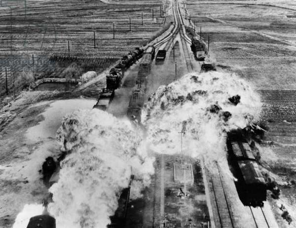 Korea: USAF air strike on communist rail cars near Wonsan, North Korea, 1953