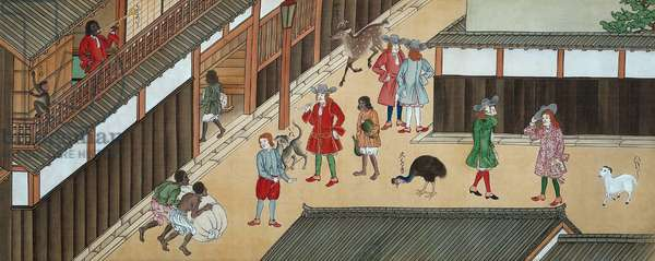 Japan: Dutch traders in Nagasaki, as depicted by an unknown Japanese artist, c.1840-50.