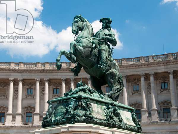 Austria: Prince Eugene of Savoy (1663 -1736), general and statesman of the Holy Roman Empire, equestrian statue in Heldenplatz, Vienna