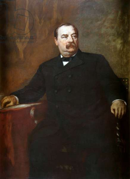 USA: Grover Cleveland (1837 – 1908) was the 22nd and the 24thth President of the United States, serving from 1885 to 1899 and from 1893 to 1897. Oil on canvas, Eastman Johnson (1824-1906), c. 1906
