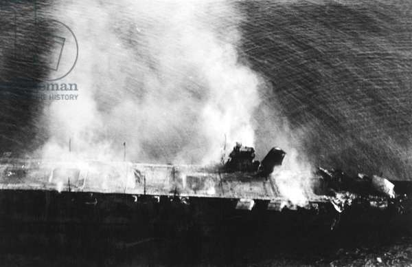 Japan: Imperial Japanese Navy aircraft carrier 'Hiryu' abandoned and burning after the Battle of Midway, 5 June 1942