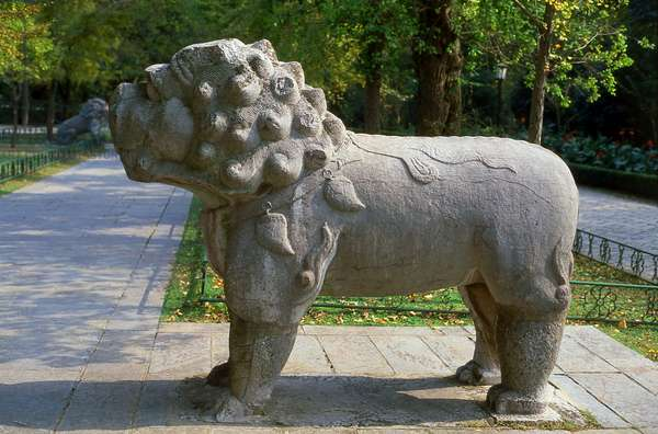 China: Mythical lion statue near the Ming Xiaoling (Tomb of Emperor Hong Wu, r. 1368-1398), Zijin Shan, Nanjing, Jiangsu Province