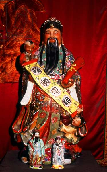 China: Typical Taoist god figure, Yuxu Taoist temple in the grounds of the Opium War Museum, Humen, Guangdong Province