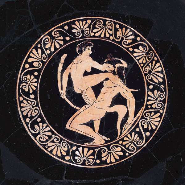 Greece: Satyrs on a drinking cup ('kylix'), detail, Attica, Late Archaic Period, wider circle of the Nikosthenes Painter, c. 500 BCE, Metropolitan Museum of Art, New York