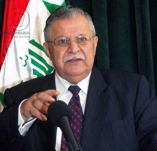 Iraq: Jalal Talabani (1933 -), founder of the Patriotic Union of Kurdistan (PUK) and 6th President of Iraq (2005-2014), c. 2014