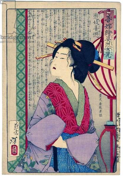 Japan: 'Azuma-e sugata retsujo kurabe Yuki kiyu'. A bijin or beautiful woman, by her hair ornaments a courtesan. Tsukiokoa Yoshitoshi (1839-1892)