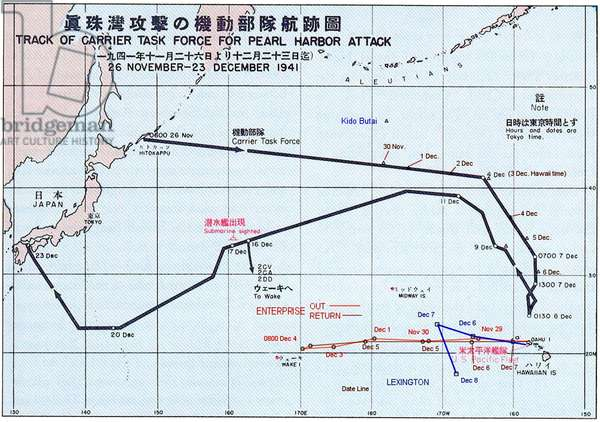 Japan / USA: Chart showing the 'Track of the Task Force for Pearl Harbor Attack', 'Reports of General MacArthur prepared by his General Staff', Washington: GPO, 1951