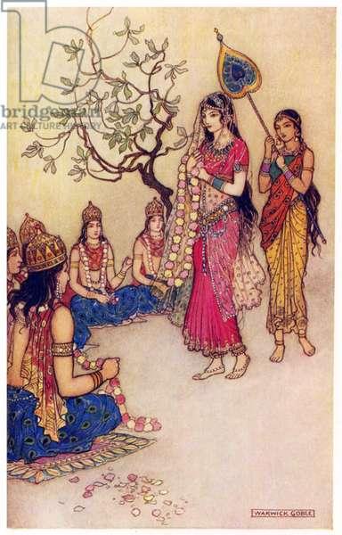 UK: 'Damayanti Choosing a Husband', Warwick Goble (1862-1943), 1912