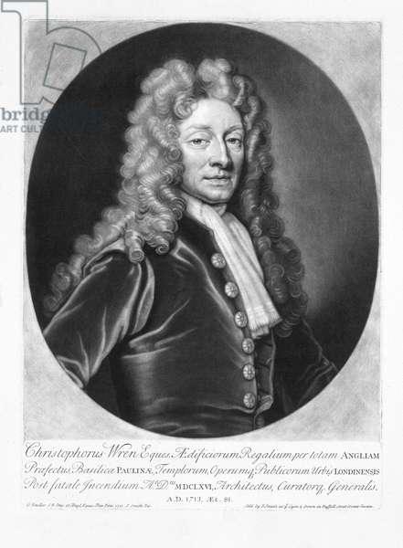 England: Sir Christopher Wren, architect (1632 - 1723), engraving, Sir Godfrey Kneller (1646 - 1723), 1713