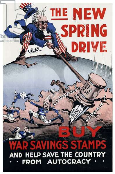 USA: 'The New Spring Drive - Buy War Savings Stamps and Help Save the Country From Autocracy'. First World War propaganda poster, c. 1917