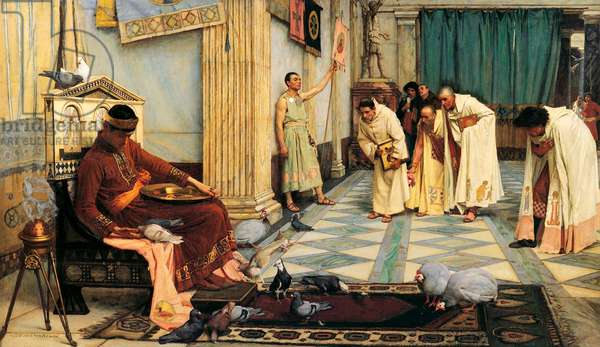 Italy: 'The Favourites of the Emperor Honorius', oil on canvas painting by John William Waterhouse (1849-1917), 1883, Art Gallery of South Australia, Adelaide