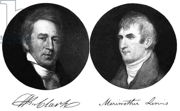 USA: William Clark (left, 1770-1838) and Meriwether Lewis (right, 1774-1809), explorers and pioneers of the American West, with their signature