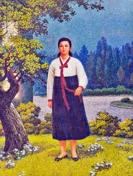 Korea: North Korean (DPRK) propaganda mosaic showing Kim Jong-suk (December 24, 1917 - September 22, 1949), Korean independence activist and Communist politician.