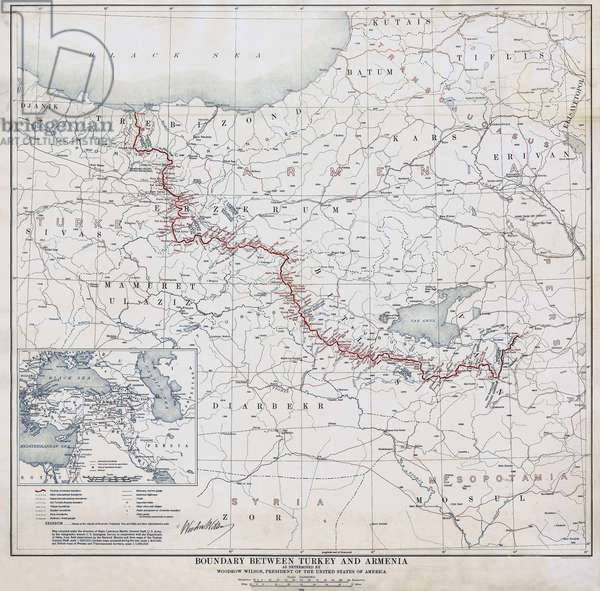 Turkey / Armenia: 'Boundary Between Turkey and Armenia as determined by Woodrow Wilson, President of the United States of America, c. 1919. Signed by President Woodrow Wilson
