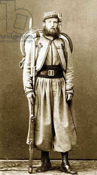 Italy: Vatican Zouave of Major O'Reilley's Papal Brigade, and a veteran of the battles against Garibaldi. Fully armed and equipped with a .71 cal. Model 1842 French Rifle with sword bayonet, and backpack.