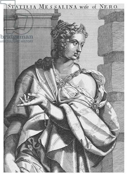 Italy / Holland: 'Statilia Messalina, wife of Nero, Emperor of Rome' (35 - after 68 CE), line engraving by Aegidus Sadeler (Netherlands, 1570-1629), after Titian, 17th Century