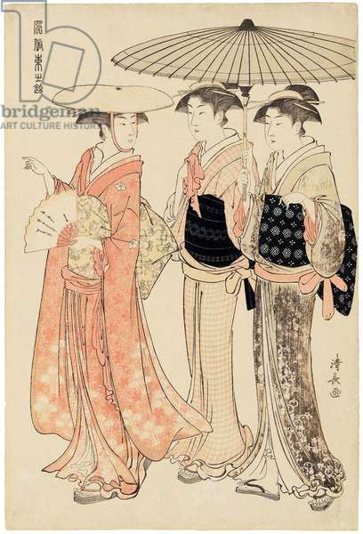 Japan: 'Lady with Two Female Attendants', from the series 'Current Manners in Eastern Brocade' . Torii Kiyonaga (1752-1815), 1783