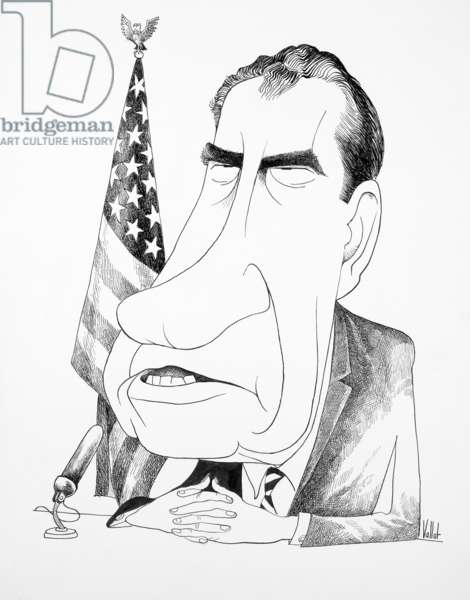 USA: Richard M. Nixon with folded hands, seated before a microphone in front of an American flag - caricature by Edmund Valtman (pseudonym: Vallot)