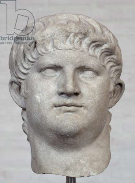 Italy: Bust of Nero Caesar (37-68 CE), 5th Roman Emperor, c. 64 CE. Currently displayed in the Glyptothek Museum, Munich