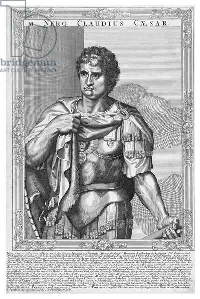 Italy / Holland: 'Nero, Emperor of Rome' (37-68 CE), line engraving by Aegidus Sadeler (Netherlands, 1570-1629), after Titian, 17th Century