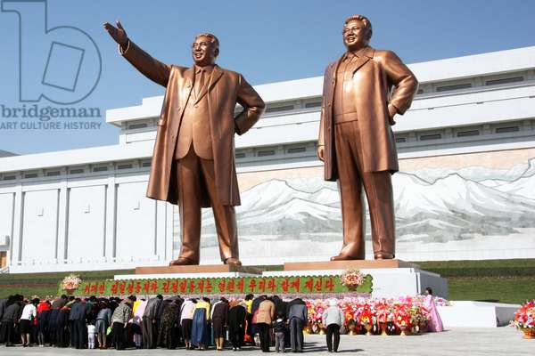 Korea: The statues of Kim Il Sung and Kim Jong Il on Mansu Hill in Pyongyang, DPRK (North Korea), April 2012