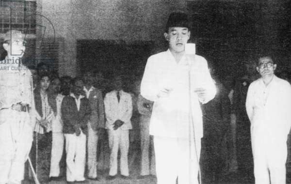 Indonesia: Sukarno, Indonesia's first president, declares independence on 17 August, 1945. To his right is Mohammad Hatta.