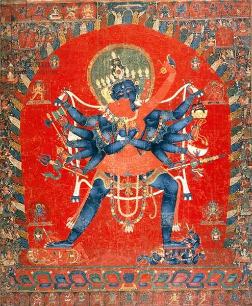 China / Tibet: The Buddhist Deities Chakrasamvara and Vajravarahi, Newari thangka, c. 15th century