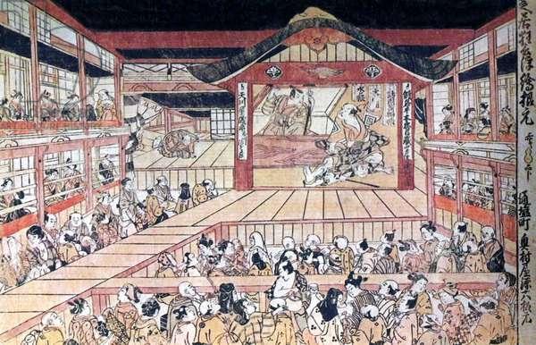 Japan: Ukiyo-e painting of a Kabuki theatre in old Edo (Tokyo), Tokugawa, 18th century