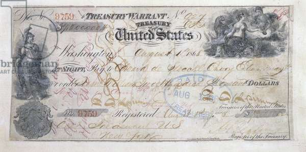 USA: Treasury Warrant for US.2 million used to purchase Alaska from the Russian Empire, 30 March 1867
