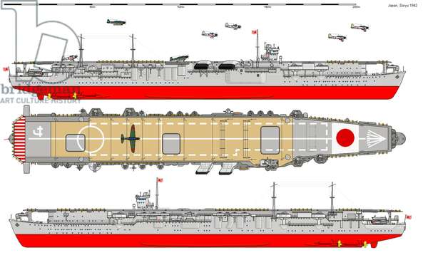 Japan: Diagram of the Imperial Japanese aircraft carrier Soryu, 1942