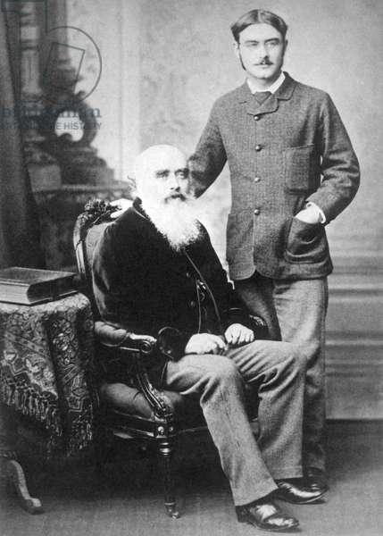 England / UK: Rudyard Kipling (1865-1936) with his father John Lockwood Kipling (1837-1911), c. 1890