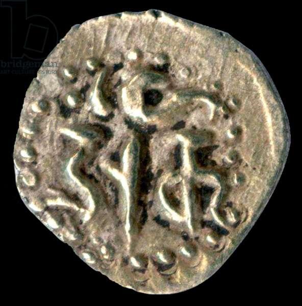 Sri Lanka: Gold 1/8th pagoda or 'fanam', king standing obverse, Nagari script reverse, c. 11th century