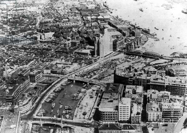 China: Shanghai - Suzhou Creek and the Huangpu River from the air, c.1935.