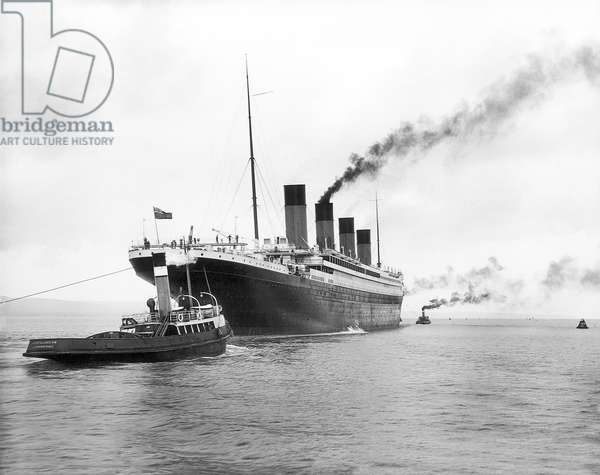 UK: RMS Titanic leaving Belfast for her sea trials on 2 April 1912