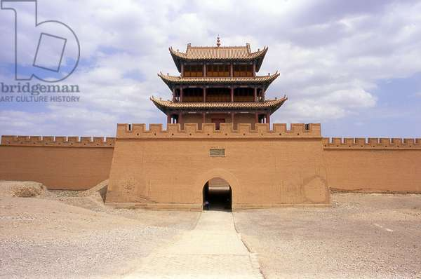 China: Western gate and tower at Jiayuguan Fort, Gansu Province