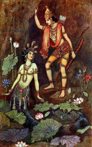 UK: 'Arjuna and the River Nymph', Warwick Goble (1862-1943), 1912