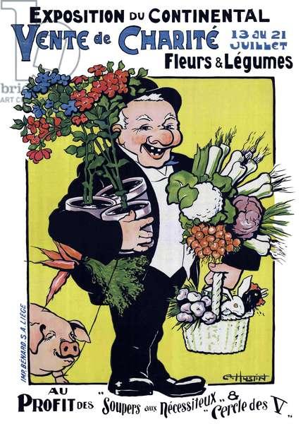 France: 'Exposition de Continental Vente de Charite' / 'Continental Exhibition Sales Charity'. First World War propaganda poster, c. 1914