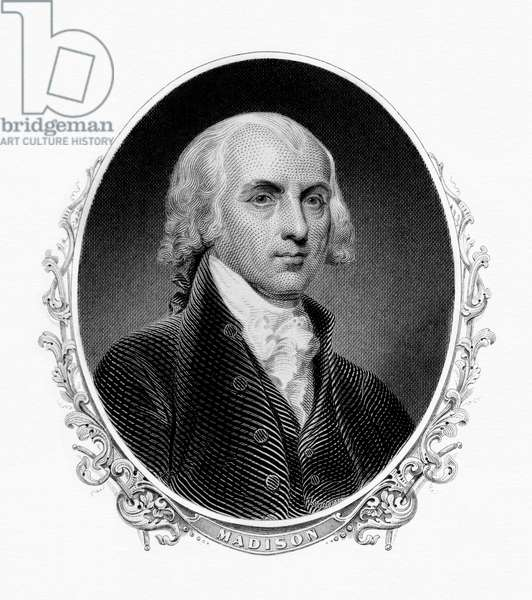 USA: James Madison (1751 - 1836) was the 4th President of the United States, serving from 1809 to 1817. Engraving, Bureau of Engraving and Printing, 19th century